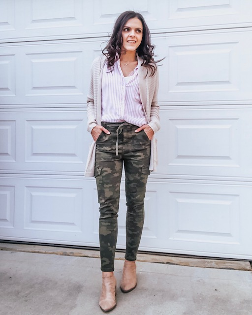 camo jeggings | styled three ways